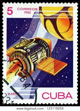 CUBA - CIRCA 1983: A stamp printed in Cuba shows automatic station Mars 2 research Mars circa 1983