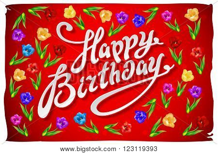 Raster Birthday Card Template With Flowers On Vintage Red Background.