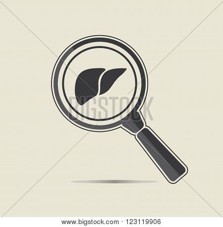 Liver examination illustration. Medical testing concept. Flat vector icon.