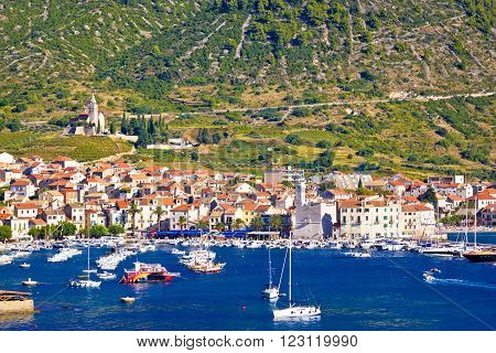 Coast of town Komiza on Vis island Dalmatia Croatia