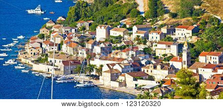 Town of Vis seafront at sunset panoramic view Dalmatia Croatia