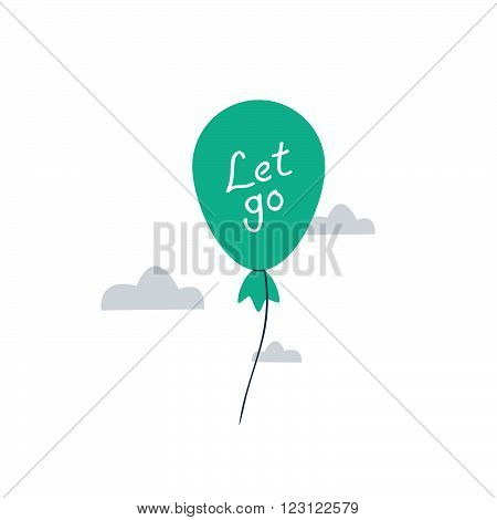 It is time to let go, balloon, flat design illustration