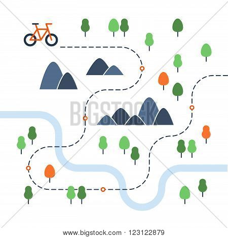 Outdoor cycling event map, flat design illustration