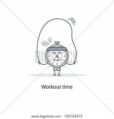 Workout time fancy concept, linear design illustration