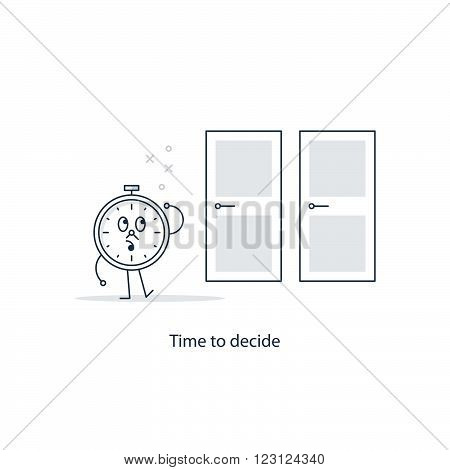 Time to decide choice, linear design illustration