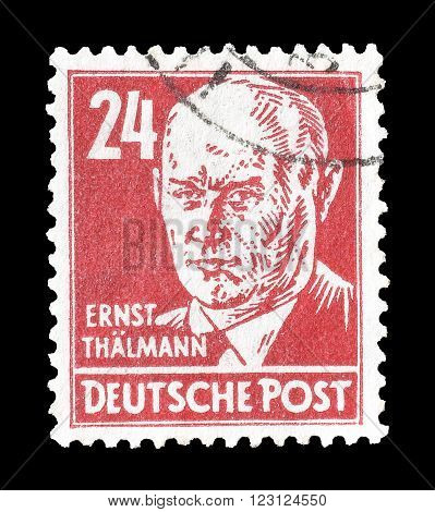 GERMANY - CIRCA 1948 : Cancelled postage stamp printed by Germany, that shows portrait of Ernst Thälmann.