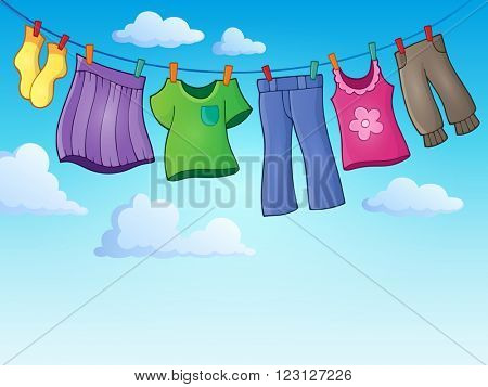 Clothes on clothing line theme image 2 - eps10 vector illustration.
