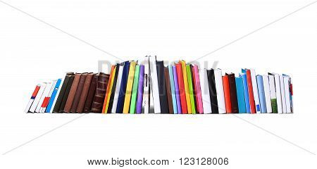 Books and magazines in different color and sizes standing in a row
