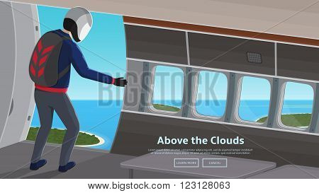 Parachutist jumping out of an plane. Flat vector web banner on the topic of extreme sport, skydiving vector background in modern flat design style.