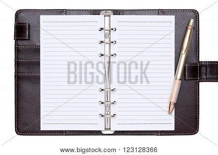 brown leather office organizer isolated on white background
