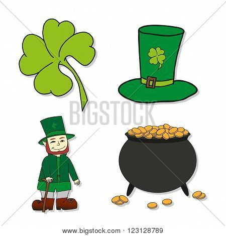 St. Patrick's Day icons - Leprechaun Leprechauns hat pot of gold and clover. Vector illustrations.