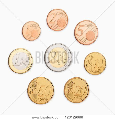 set of euro coins frontside isolated on white background