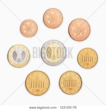 set of euro back side coins isolated on white background
