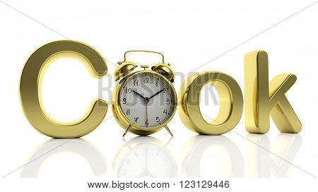 3D golden word Cook with alarm clock as letter