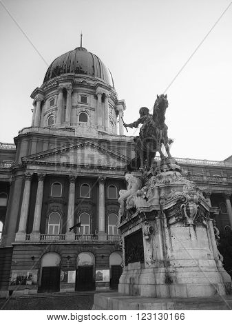 BUDAPEST, HUNGARY, JULY 10, 2015: Exterior shot of Buda Palace with the view of the dome and the terrace with Prince Eugene's monument.