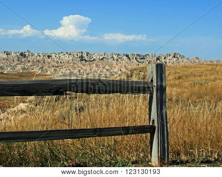 Fence Post in Badlands National Park South Dakota USA