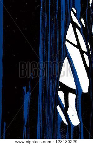 Closeup view of an original strips painting. Hand painted abstract grunge background. Texture with space for text or image. Fragment of artwork, modern art, contemporary art. Mixed media. Avant-garde art. Stains, spray paint. Black and blue lines.