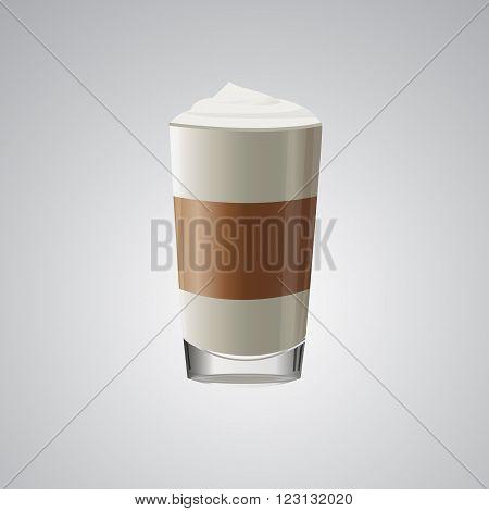 latte macchiato coffee vector. macchiato coffee icon