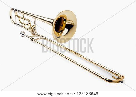 Brass slide trombone isolated on a white background