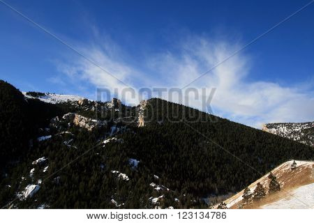 Big Horn Mountains under cirrus cloudscape in Wyoming USA