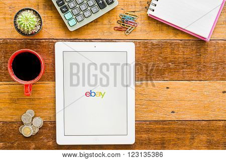 CHIANGMAI, THAILAND -JANUARY 10, 2016: IPad 4 open ebay application. ebay is one of the largest online auction and shopping websites announces a new application for mobile devices.