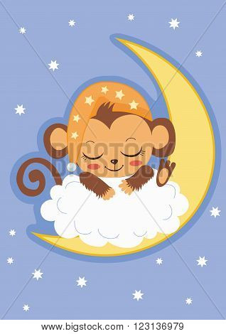 Cute Baby Monkey Is Sleeping On The Moon. Cartoon Vector Card. Baby Monkey For Sale. Baby Monkey Costume. Baby Monkey Doll. Baby Monkey Clothes. Baby Monkey Plush. Baby Monkey Mascot.