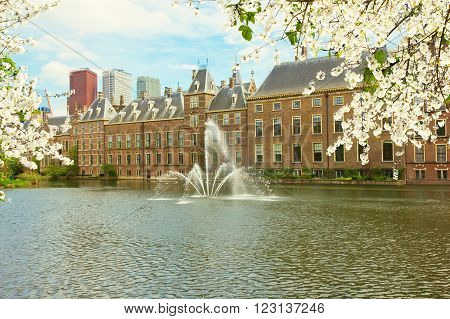view of Binnenhof Dutch Parliament  at spring, The Hague, Netherlands