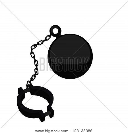 Vector illustration ball on chain. Shackle icon. Jail chain with heavy shackle. Prison ball and chain
