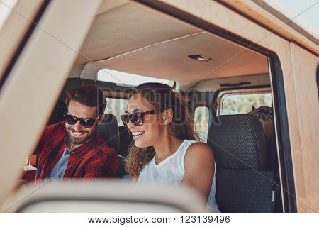 Happy Young Couple On Roadtrip