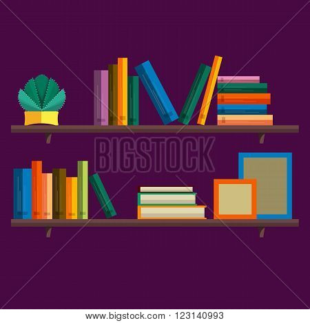 Bookshelf with books in vector. Bookshelf in a flat style with long shadow. Illustration of modern shelves for books. Wall bookshelf with a stack of books. Wooden bookshelf with books in the series.
