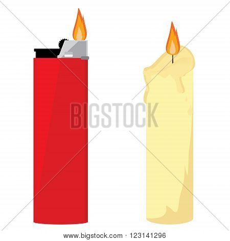 Vector illustration red pocket lighter with fire and wax burning candle. Church candle. Lighter icon. Burning lighter. Modern fuel lighter