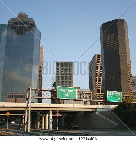 freeway leading to downtown Houston skyline