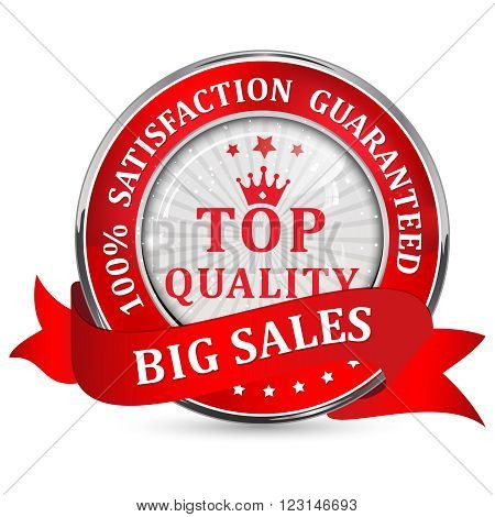 Big Sales. Top quality. 100% Satisfaction guaranteed - metallic red shiny glossy icon / button with ribbon.