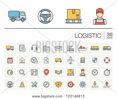 Vector thin line icons set and graphic design elements. Illustration with Logistic, delivery business, distribution outline symbols. Service, export, shipping, transport linear pictogram