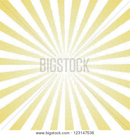 Sun Sunburst yellow pattern made of stipples. Vector illustration