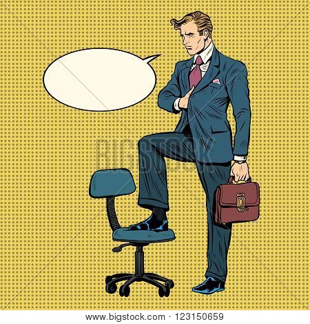 businessman in the pose of Napoleon with bubble comic pop art retro style. business concept. Leader commander strategist