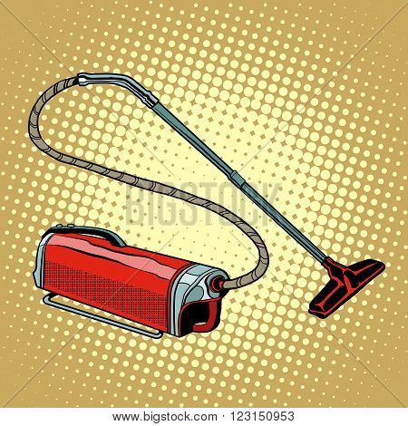 Retro vacuum cleaner home appliances pop art retro style. Cleanliness and housekeeping. A symbol of purity. Vector vacuum cleaner.