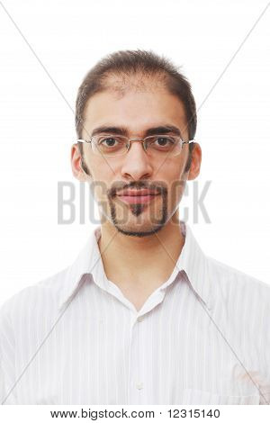 Closeup portrait of handsome young adult man in glasses with cool goatee beard and mustache on white background poster