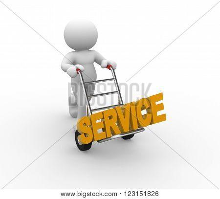 3d people - man person with a handtruck and word service