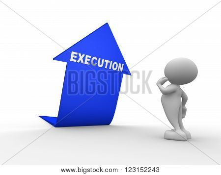 3d people - man person and blue arrow. Execution