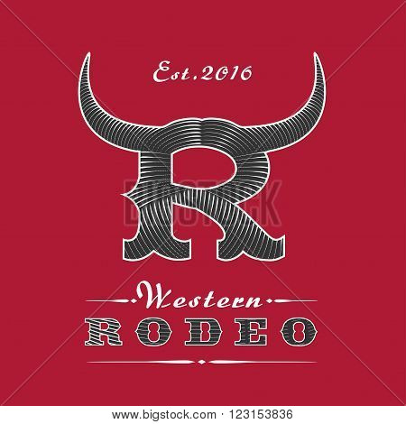 Rodeo vector logo template for event company product bar etc. Vibrant colors. Amercian Wild West sign