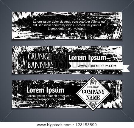 Vector Set Of Blackboard Horizontal Banners.