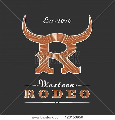 Rodeo vector logo template for event company product bar etc. Cowboy emblem. Wild West sign