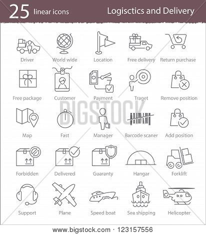 Vector linear logistics and delivery icons set for web design application interface or infographics