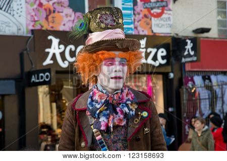 LONDON UK - DECEMBER 15 2014: Mad Hatter's Tea Party at Camden Lock in London
