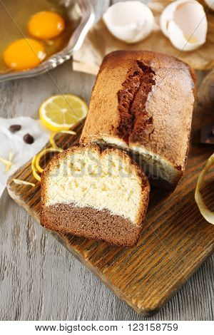 Composition of tasty cake with chocolate morsels,closeup