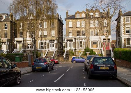 LONDON UK - April 13: Row of Typical English Houses in London