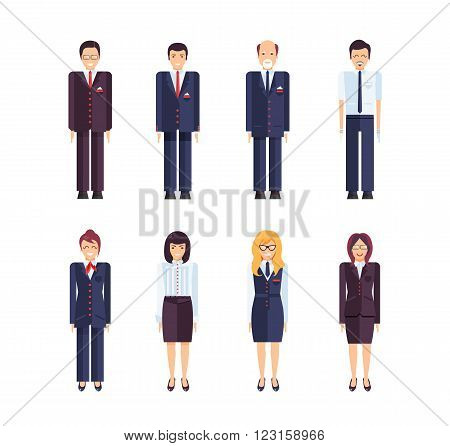 Stock vector set of isolated characters, manager, regional director, secretary, office manager, sales manager, bank employee in flat style for icons, websites, printed materials, games, motion design