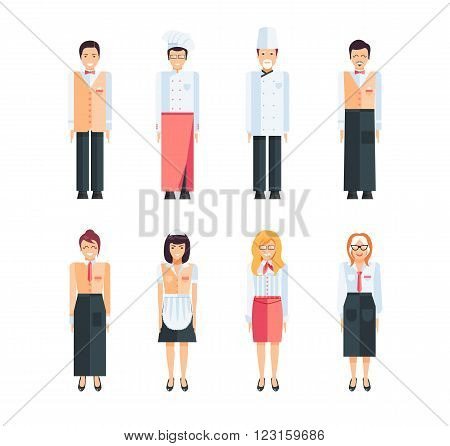 Stock vector set of isolated characters, kitchen workers, staff cafes and restaurants, cook, chef, confectioner, waiter in flat style  for icons, websites, printed materials, games, motion design