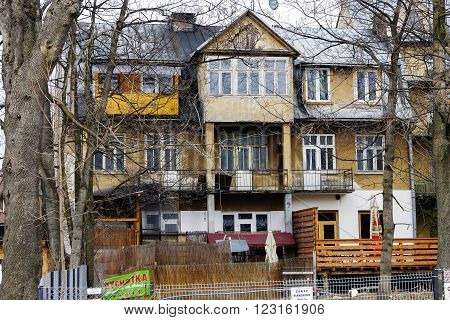 ZAKOPANE POLAND - MARCH 07 2016: Brick residential house dating from the first quarter of the twentieth century. This building listed in the municipal register of monuments of architecture